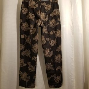 Tommy Bahama Black Silk Embroidered Pant 6